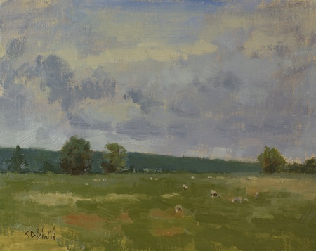 Sheep and sky in a plein air oil painting done at Meadow Grove Farm in Upperville, VA